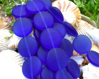 """4"""" / 8"""" str Royal Blue 20mm sea beach glass freeform pebble Beads frosted recycled"""