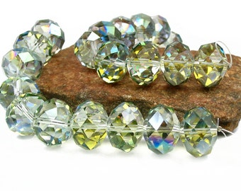 SAHARA green 18mm x 13mm 10pcs half coat AB Rondelle Designer Crystal Glass Faceted  Beads