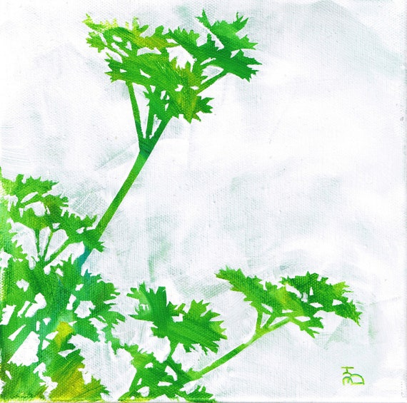green white parsley herb stencil painting square 8x8