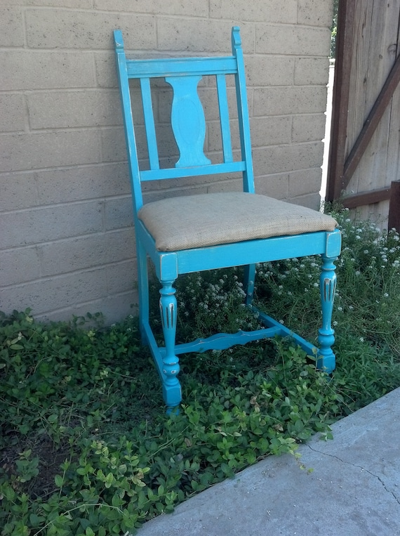 Vintage Hand Painted Turquoise Chair with a Burlap Seat