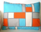 Orange Aqua Gray Pillow Cover, Decorative Throw Pillow, Cushion Covers, Orange Aqua Grey Cream Geometric Lumbar, One 12 x 16 or 12 x 18