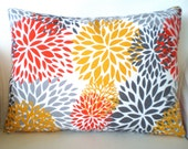 OUTDOOR Pillow Covers Throw Pillow Cushion Cover Lumbar Orange Yellow Gray White Decorative Pillows, Beach Patio, One 12 x 16 or 12 x 18