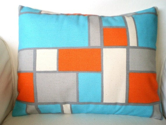 Orange Aqua Gray Pillow Cover, Decorative Throw Pillow, Cushion Covers, Orange Aqua Grey Cream Geometric Lumbar, One 12 x 16 or 12 x 18