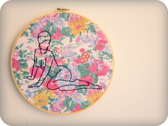 embroidery hoop art GIRL AND FLOWERS original vintage inspired portrait hand drawn pin up girl art