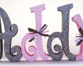Baby Girl Nursery Letters Pink and Brown