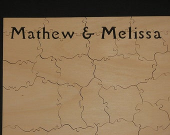 """75-80 pc Wooden Guestbook Puzzle - Can Be PERSONALIZED - 14"""" X 24"""" HAND CUT"""