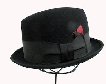 Mens Vintage 1950's Hat Black Fur Felt Stingy Brim Fedora Mans Hat Small