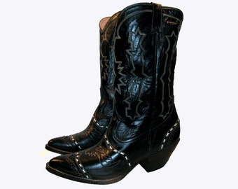 Vintage Cowboy Boots Mens Black Leather Buckstitch Western Boots Mns US size 10 1/2