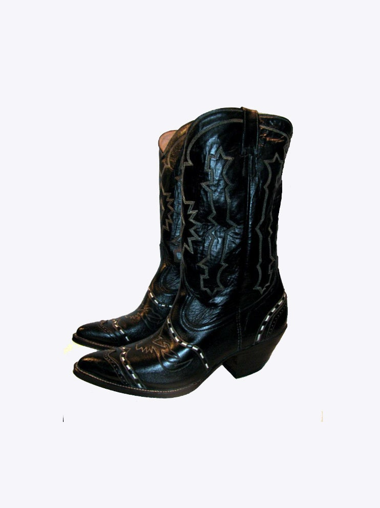 vintage cowboy boots mens black leather buckstitch western
