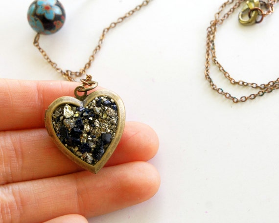 Pyrite Nugget Locket Necklace with Navy Goldstone