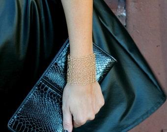 Simple Wide Gold Cuff Bracelet Minimal Sexy Metallic Gift Wire Mesh Hand Knit Lace Bracelet Modern Jewelry