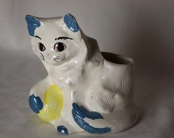 Kitty Cat  Planter or Vase Vintage Blue trim yellow yarn ball Playtime Kitten