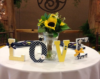 Wood Letter Set, LOVE Letters, Weddings, Home Decor, Freestanding, Four Six Inch Free standing, Any Color Scheme, Head Table, Cake Table
