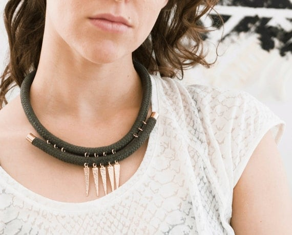 Tribal Rope Necklace - Sage Green and Rose Gold Choker, Hammered Spikes