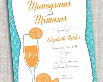 Monogram and Mimosas Printable Invitation - Wedding Bridal Shower Tea Luncheon
