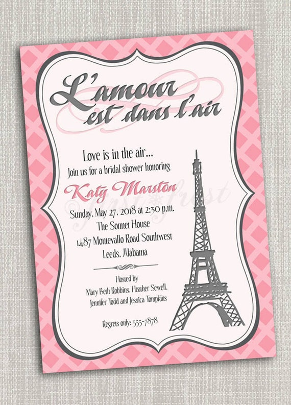 French Themed Eiffel Tower Paris Party Invitation Card - Birthday invitation cards in french