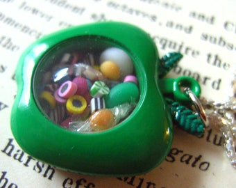 Sweet, GREEN, Apple, pendant, locket, miniature sweets, necklace, teacher, apple necklace, by NewellsJewels on etsy