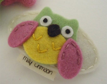 Felt hair clip -No slip -Wool felt -Orla the owl -cream