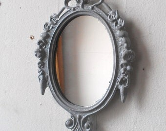 Small Decorative Mirror, Grey Home Decor, Grey Nursery Wall, Gallery Wall Collage, Cubicle Decor, Apartment Decorating