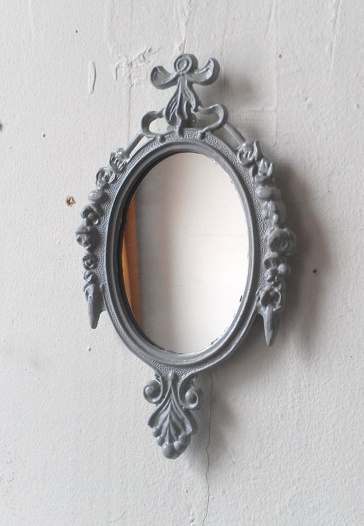 Small decorative mirror grey home decor by secretwindowmirrors for Small decorative mirrors