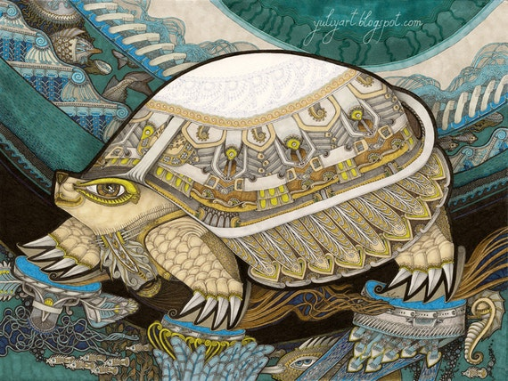 Turtle - modern fine art print nursery gift unisex Tortoise illustration drawing interior decor teal mint nautical animal marine navy animal