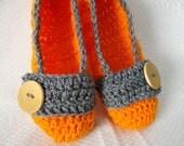 Crochet Slippers Womens Flats Orange Grey