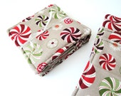 Christmas Candy Coaster Set in Red Green and Taupe Quilted Coasters