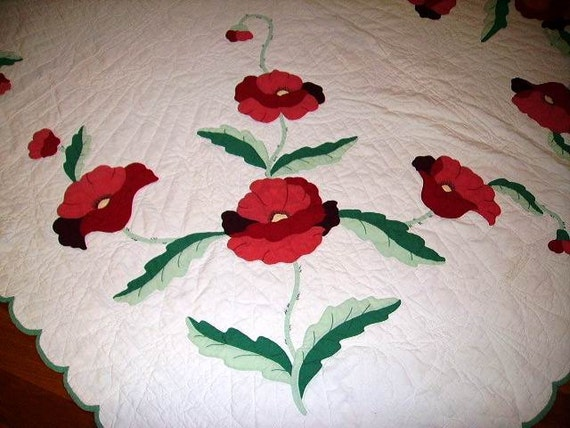 Vintage 1940's Applique Quilt Red Poppies Hand Stitched Excellent  FREE Shipping