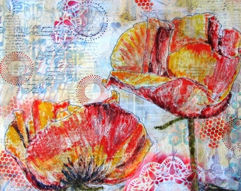 Yellow poppies - an original mixed media painting 40 x 40 cms