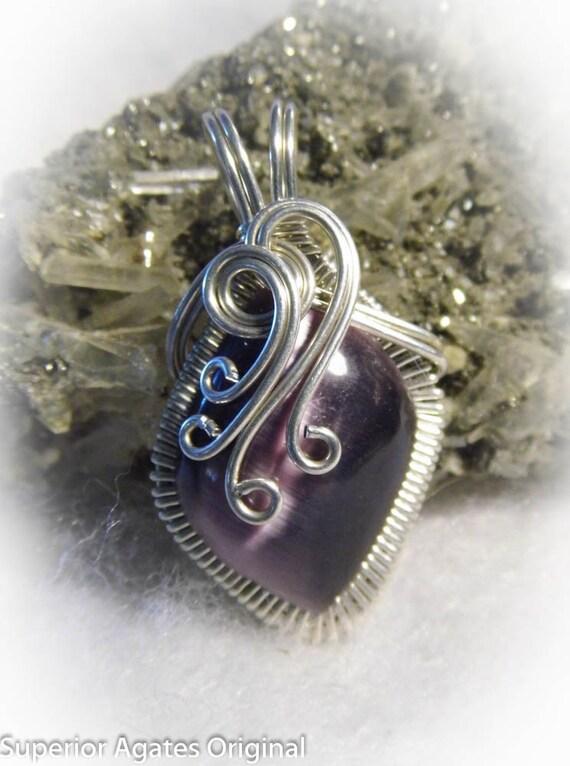 Grape Purple Cat's Eye Wire Wrapped Stone Pendant