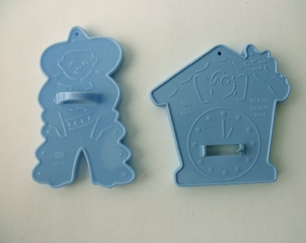 Set of RARE blue vintage HRM plastic Cookie Cutters -  made in USA -cowboy, clock