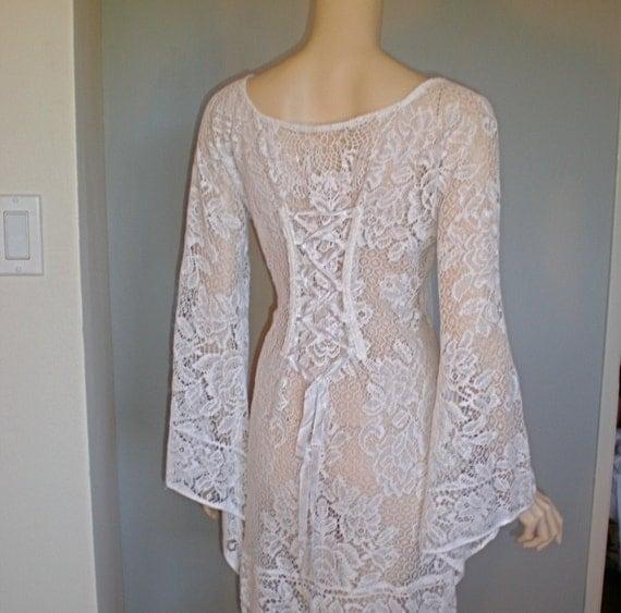 Medieval Wedding Dress Pattern Laced Corset Bridal Gown: Corset Back Vintage Crochet LACE DRESS Renaissance Festival