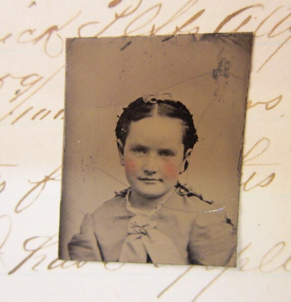 miniature tintype photo - GIRL with bow and tinted cheeks - GT915