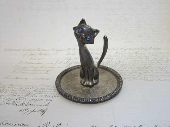 small ring tray - CAT with blue jeweled eyes - trinket tray