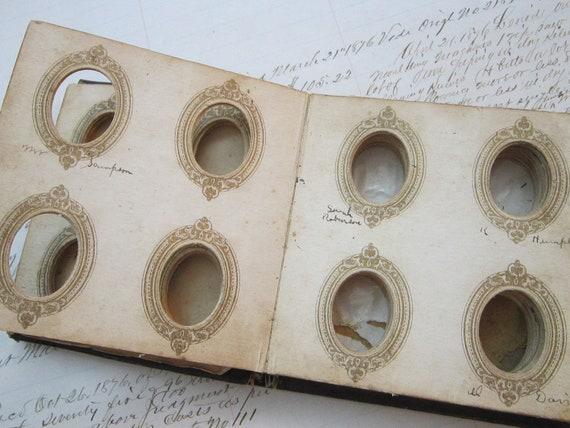 antique GEM album - gemtype album for small tintypes - black leather cover - circa late 1800s