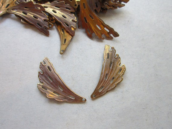 vintage brass findings - moth wings - 2 pieces - 12mm x 28mm