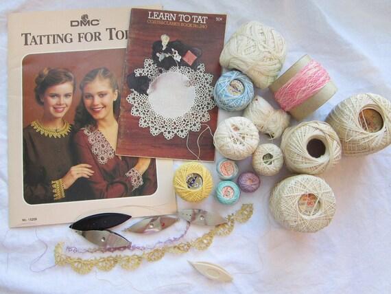 vintage tatting supplies, shuttles, thread, book