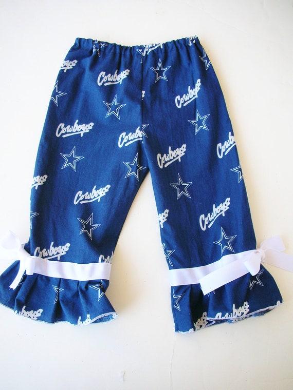 2T Dallas Cowboys Ruffle Pants, ready to ship with white bows navy blue football game day rhumba pants