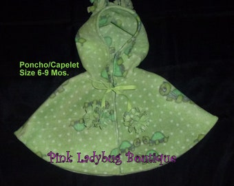 Turtle Print Fleece Hooded Poncho/Capelet Size 6-9 Mos. Ready to Ship