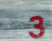 Rustic Number 3, Unframed Giclee 11 x 14 Print by paintsquare, SALE
