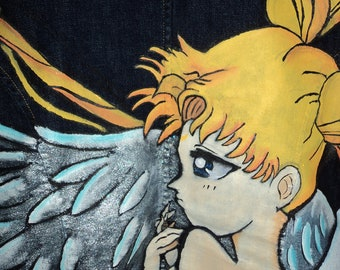 Sailor Moon Jacket, Denim, sailor moon, custom jean jacket, anime, anime women, anime characters, Usagi, Sailor mars, sailor jupiter,