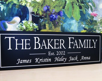 Personalized Established 8 x 24 Family Name Carved Wood Sign  5S9
