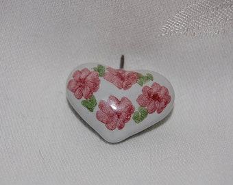 Vintage Pink Flower Porcelain Heart Pendant for a Wedding Flower Girl at The Rose Rooms