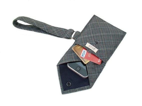 RESERVED for Ella - Recycled Necktie Wristlet Cell Phone Wallet (iPhone Droid Smartphone Samsung HTC Blackberry iTouch iPod or Camera Case)