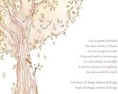 Corinthians 13, Personalized WEDDING GIFT, Tree, 8x10, ANNIVERSARY, Fall Wedding