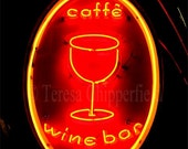 Portland Oregon - Neon Sign - Cafe - Wine Bar - Glowing at Night - 8 x 12 - Fine Art Digital Photo Print -  Vintage Light - Landmark - PhotosByChipperfield