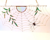 New Handmade Spider Web Sun Spider and Leaves
