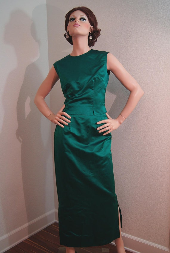 50s 60s Emerald Green Silk Dress Suit 3 Piece Satin Evening
