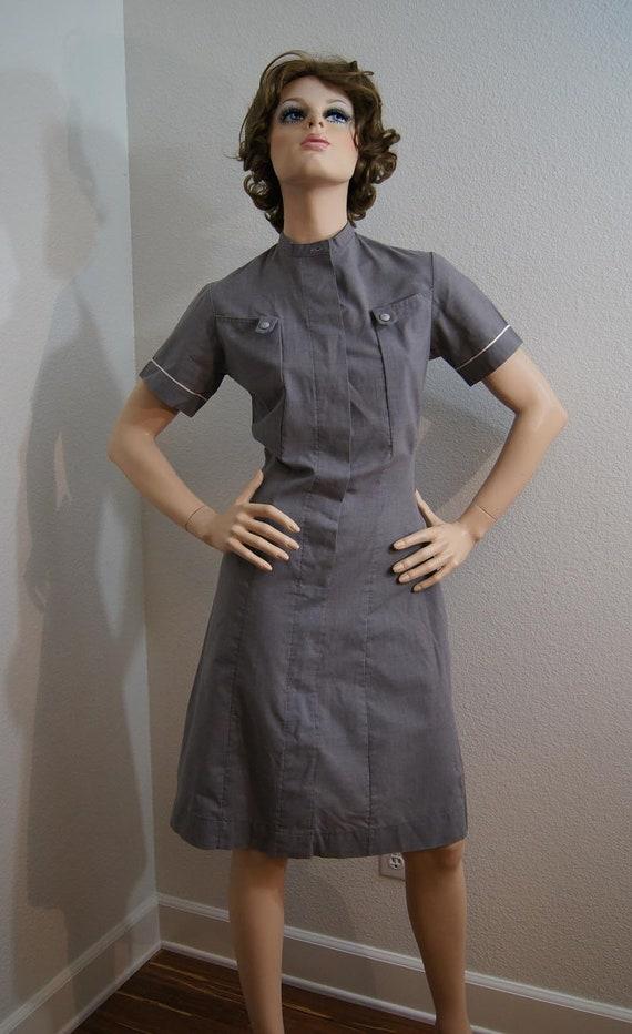 Vintage 1950s Gray Nurses Uniform / 40s 50s BOYD COOPER Grey