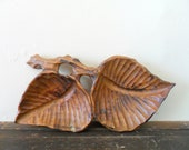 vintage handmade wooden brown leaf dish - autumn - fall - rustic